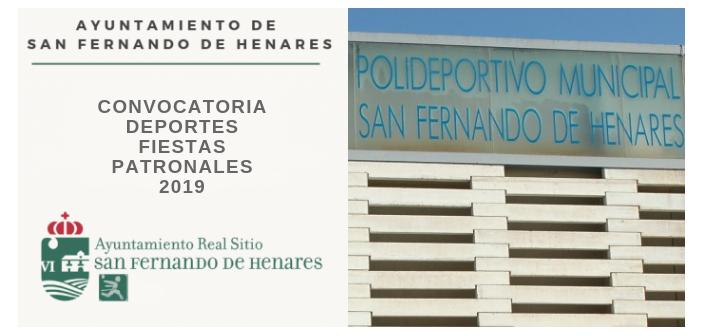 Subvenciones del área de Deportes Fiestas Patronales 2019