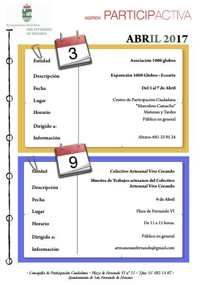 Agenda Participactiva Abril 2017 recorte