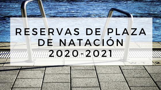 Reserva de plaza de natación. Preinscripción temporada 2020-2021.