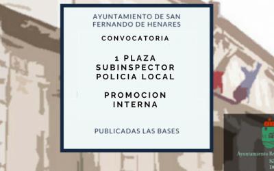 Anuncio Propuesta nombramiento como funcionario de carrera Subinspector de Policía Local – Promoción Interna