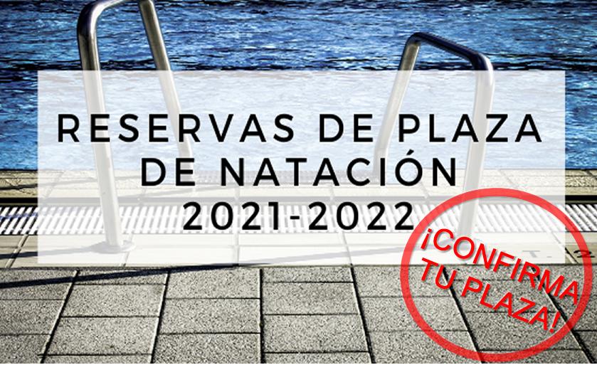 Confirmación de reserva de plaza de natación. Temporada 2021-2022.