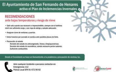 Recomendaciones ante bajada de temperaturas y riesgo de nevadas