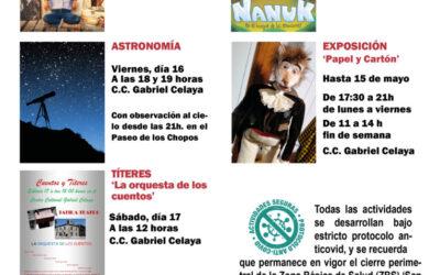 Continúa la programación cultural en San Fernando de Henares con 'Kamino de Risas', 'Nanuk en el bosque de las emociones', sesiones de astronomía, cuentacuentos y la exposición 'Papel y Cartón' para este fin de semana