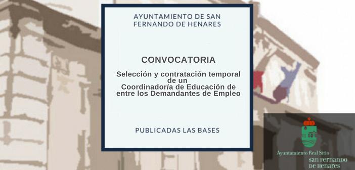 Bases para la selección y contratación temporal de un Coordinador/a de Educación de entre los Demandantes de Empleo