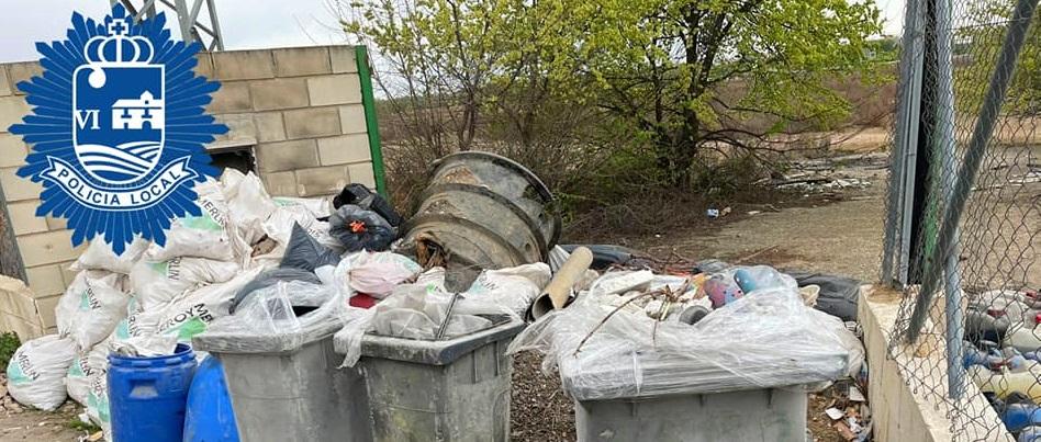 Policía Local de San Fernando de Henares localiza un vertido de residuos ilegales y peligrosos identificando al presunto infractor