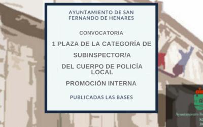 Convocatoria 1 Plaza de la categoría de SUBINSPECTOR/A DEL CUERPO DE POLICÍA LOCAL – PROMOCIÓN INTERNA