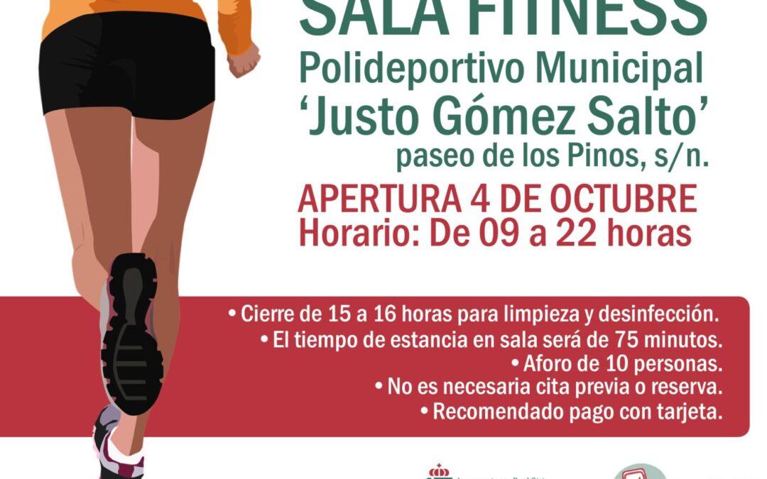 La sala fitness abrirá sus puertas el próximo 04 de octubre, en horario de 09 a 22 horas, y con cierre de 15 a 16 horas para limpieza y desinfección