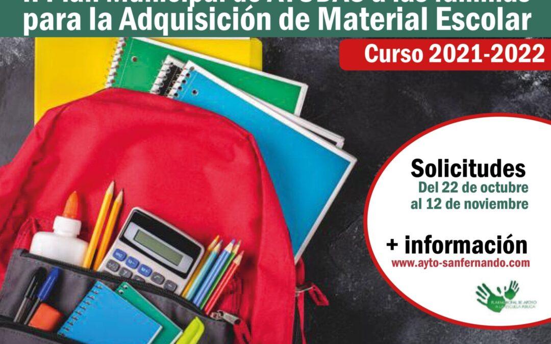 NOTA INFORMATIVA: II Plan de Ayudas a las Familias para la Adquisición de Material Escolar. Curso 2021-2022