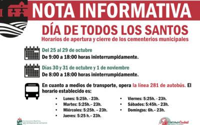 NOTA INFORMATIVA: Horarios cementerios por el Día de Todos los Santos