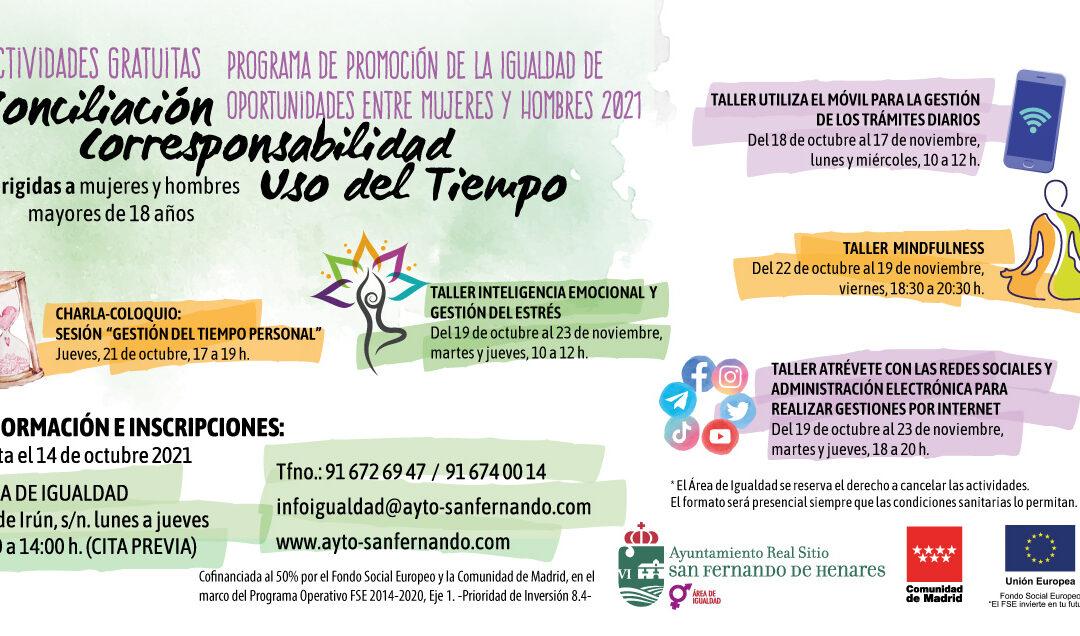 Talleres gratuitos destinados a la promoción de la igualdad de oportunidades entre mujeres y hombres